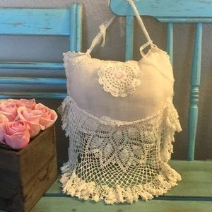 """Decorative """"Pocket Pillow"""" With Lace Skirt"""